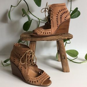 Jo Mercer Perforated Tan Leather Wedge Boots Open